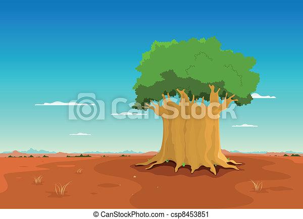 Baobab Inside African Desert - csp8453851
