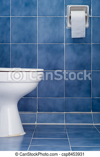 White ceramic sanitary ware in Blue bathroom - csp8453931