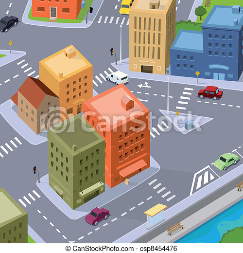 Cartoon City Traffic - csp8454476
