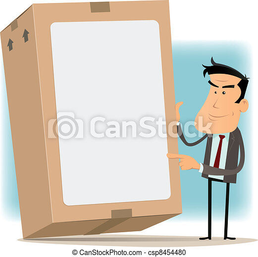 Businessman And Cardboard Delivery - csp8454480