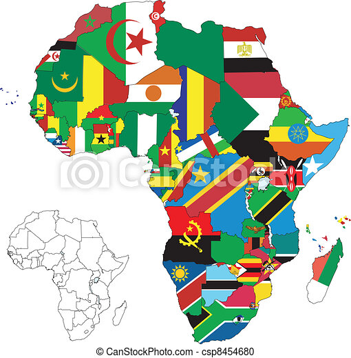 Africa Continent Flag Map - csp8454680