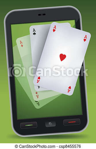 Smartphone Gambling - Four Aces - csp8455576