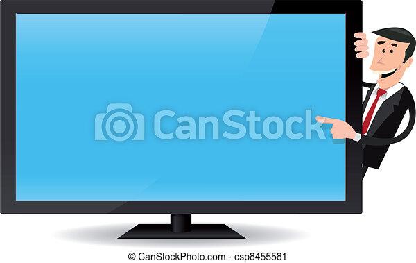 clip art vecteur de homme pointage plat cran tv illustration dessin csp8455581. Black Bedroom Furniture Sets. Home Design Ideas