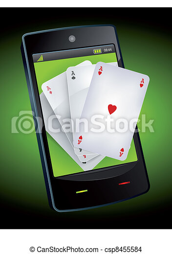 Smartphone Gambling - Poker Aces - csp8455584
