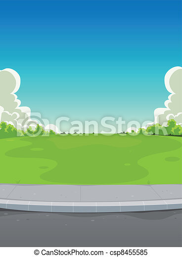 Pavement And Green Park Background - csp8455585