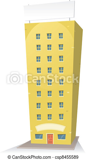 Cartoon Building With Sign - csp8455589