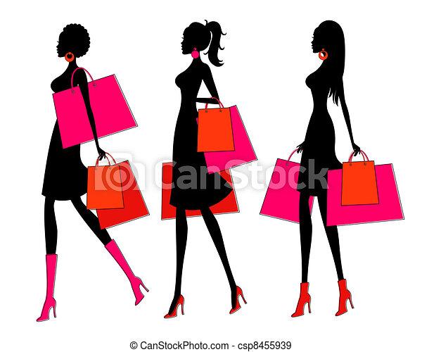 Shopping Girls - csp8455939