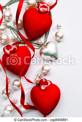 Art Design a greeting card with love heart Happy Valentine Day - csp8456891