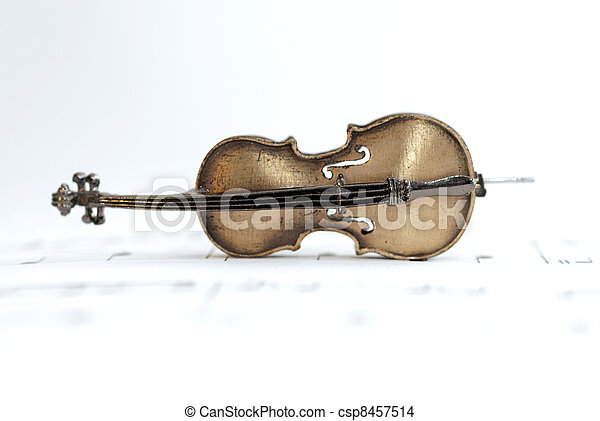 Classical Cello Placed On Music Sheet