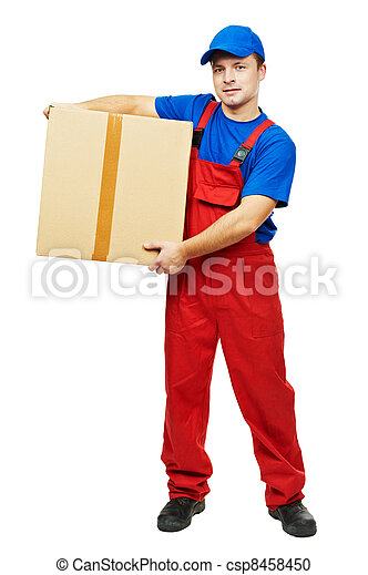 delivery man courier with parcel cardboard box - csp8458450