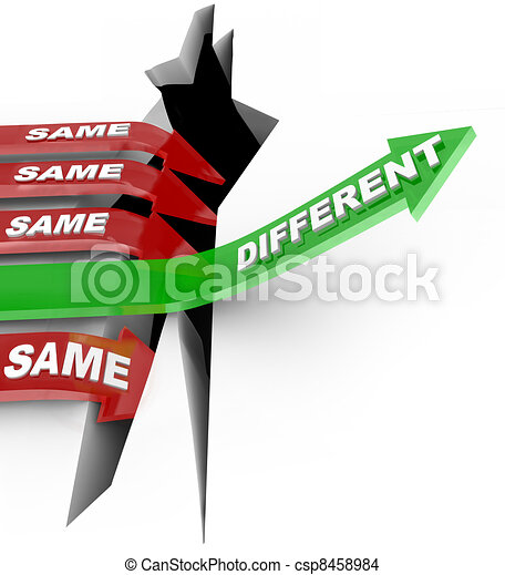 Different Beats Same Unique Innovation Vs Status Quo Arrows - csp8458984
