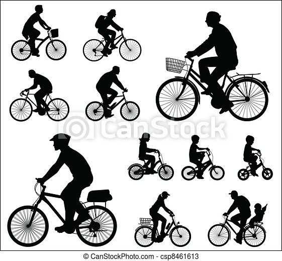 bicyclists silhouettes - csp8461613