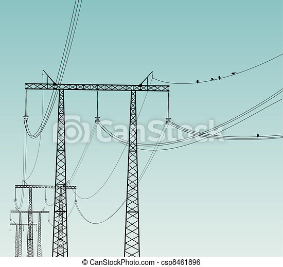 Birds on Power Line - csp8461896