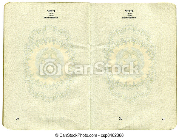 Old Italian passport. Page for visa marks - csp8462368