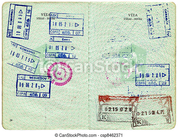 Old Czech passport, page for visa marks - csp8462371