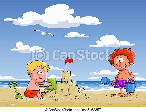 Children on the beach - csp8462857