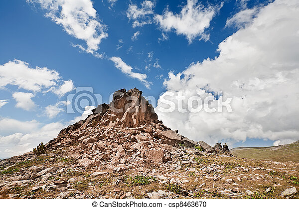 Mountain Altai. A beautiful landscape with stones and the blue sky. - csp8463670