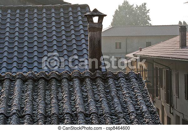 stock fotografie von asbest dach oberseite schornstein schornstein auf csp8464600. Black Bedroom Furniture Sets. Home Design Ideas