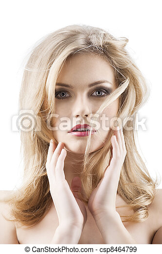 classic beauty portrait of young sexy girl with hairstyle and flying hair from wind, she is in front of the camera, looks in to the lens and has both hands near the face - csp8464799