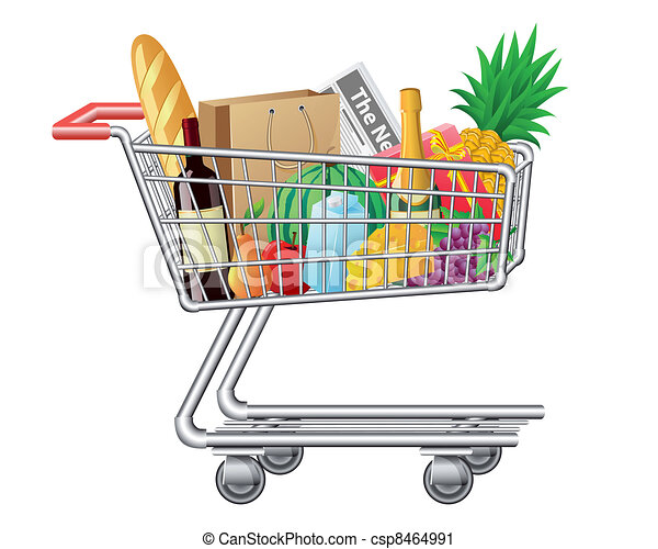shopping cart with purchases and fo - csp8464991