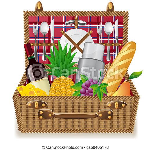 illustration de panier nourritures pique nique vaisselle panier pour csp8465178. Black Bedroom Furniture Sets. Home Design Ideas