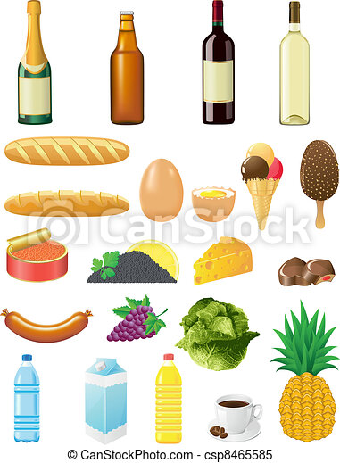 set icons of foods - csp8465585