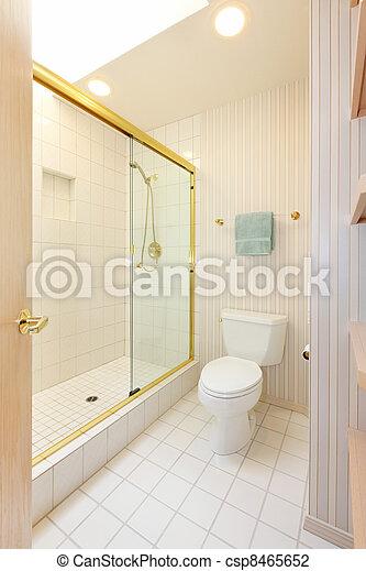 Stock foto badezimmer wei es fliesenmuster glas - Fliesenmuster dusche ...