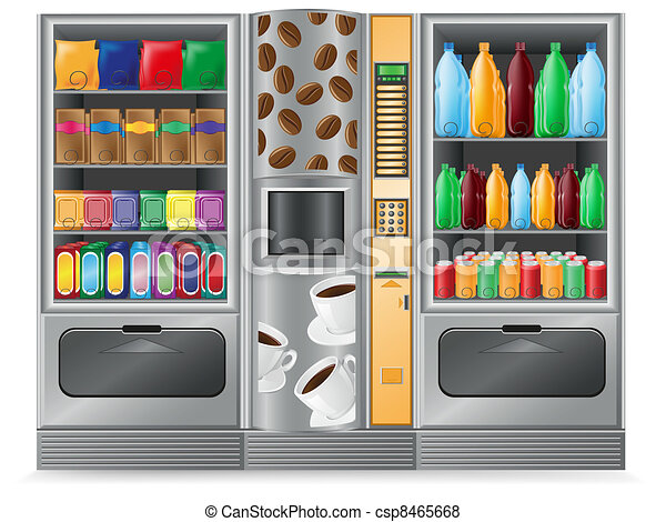 vending coffee snack and water - csp8465668