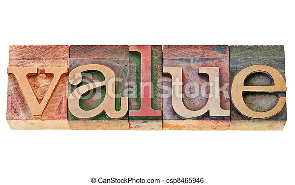 value word in letterpress type - csp8465946