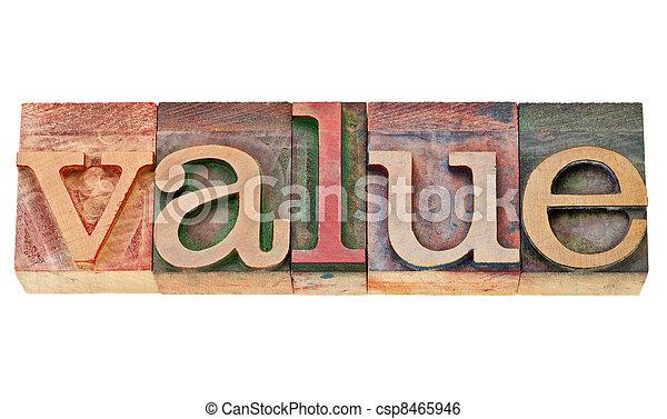 value word in letterpress type - csp8465946