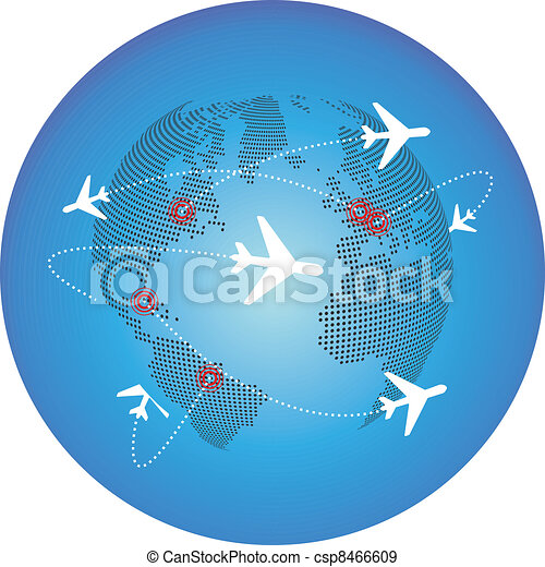 airplane around the world - csp8466609