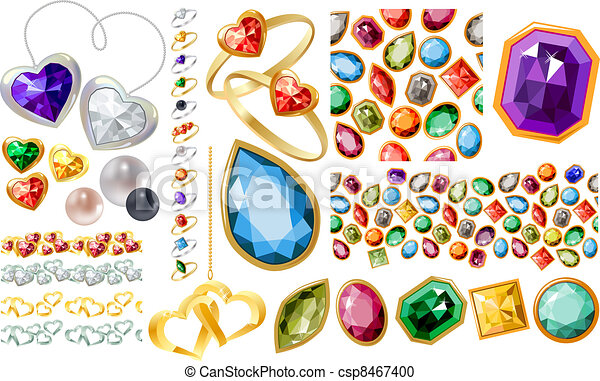 Big jewelery set with gems and rings - csp8467400
