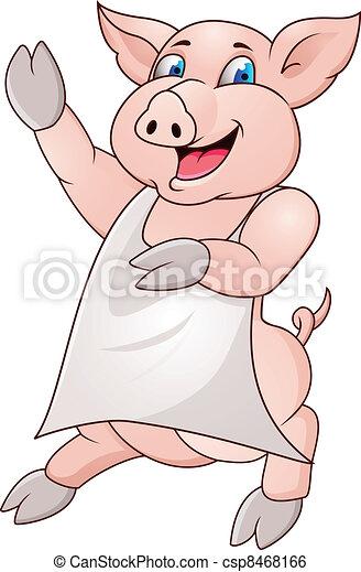 pig wearing apron - csp8468166