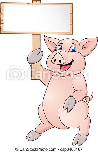 Funny pig cartoon - csp8468167