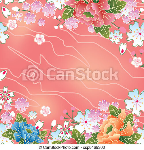 Asian cherry blossoms frame - csp8469300