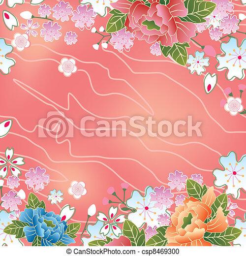 Asian cherry blossoms frame - csp8469300