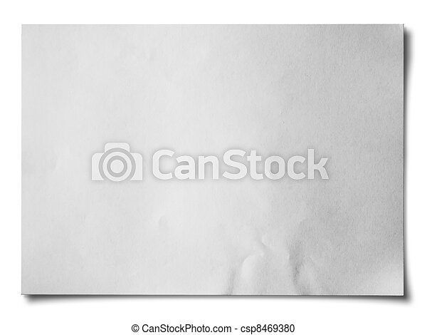 White crumpled paper Horizontal - csp8469380