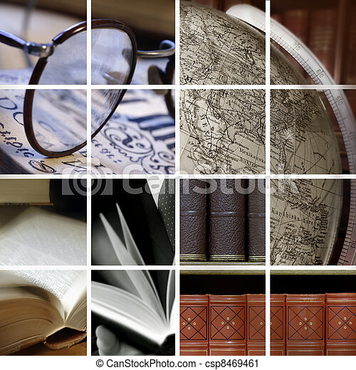 Collage of library ambiance - csp8469461