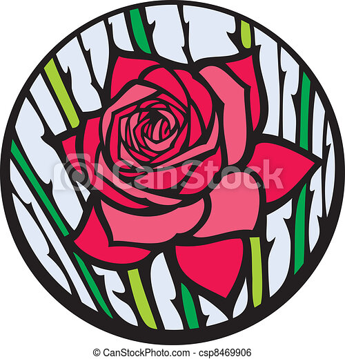 Stained-glass rose. - csp8469906
