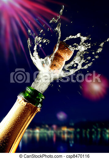 Close up of champagne cork popping - csp8470116