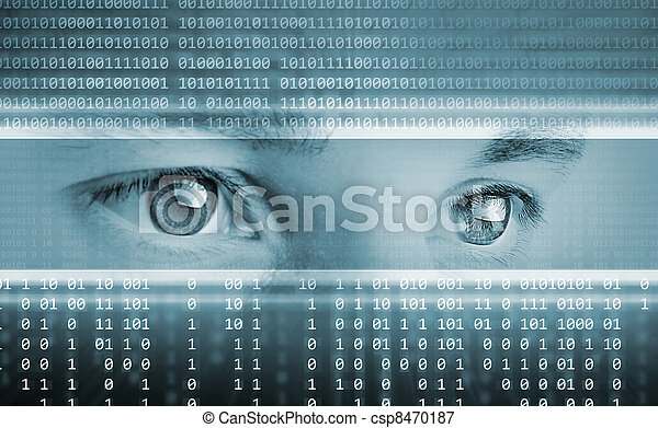 high-tech technology background with eyes on computer display - csp8470187
