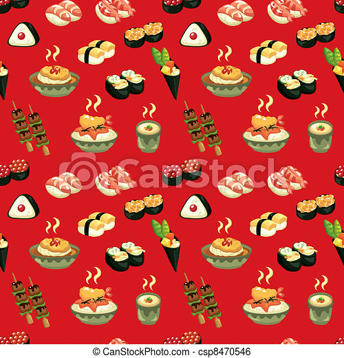 seamless Japanese food pattern - csp8470546