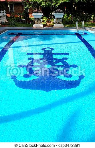 Swimming pool near villa at the popular hotel, Bentota, Sri Lanka - csp8472391