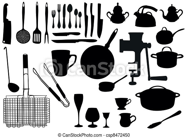 Kitchen utensil silhouette - csp8472450