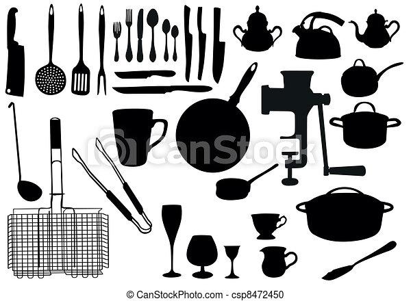 Kitchen utensil silhouette - csp8472450