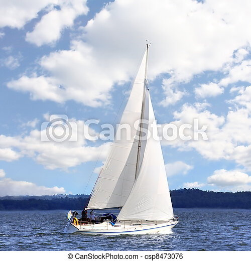 Sailing boat in the wind  - csp8473076