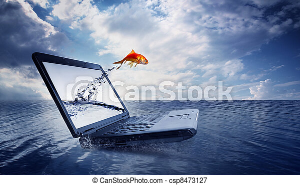 Goldfish jump out of the monitor at ocean - csp8473127
