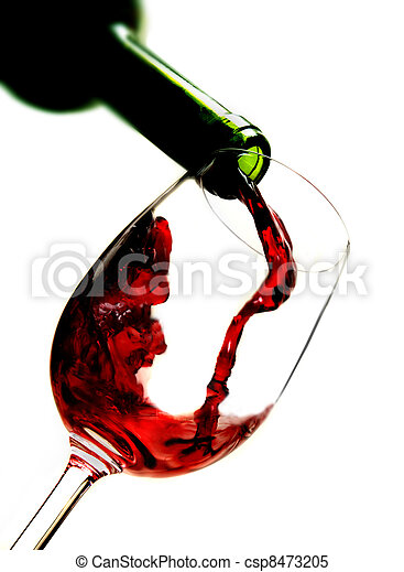 Red wine pouring into wine glass - csp8473205