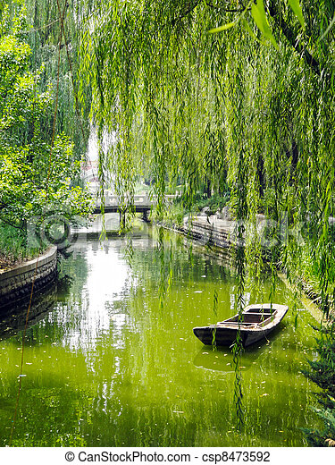 Stock Photo of Boat under Willow Tree - Small boat floating in narrow... csp8473592 - Search ...
