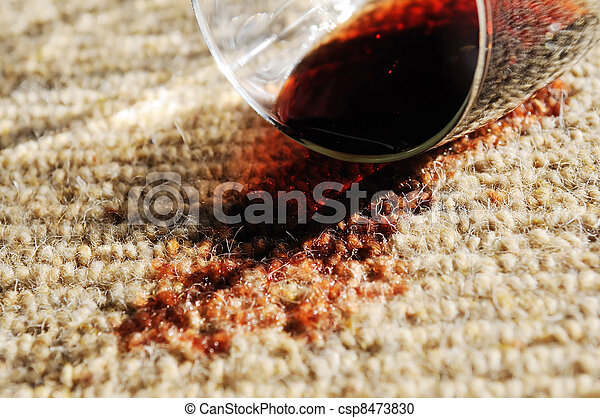 Red Wine Spill on a Pure Wool Carpet - csp8473830